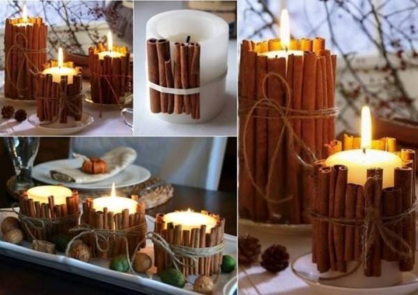 А палочки корицы не только украсят свечу, но и наполнят кухню чудесным ароматом