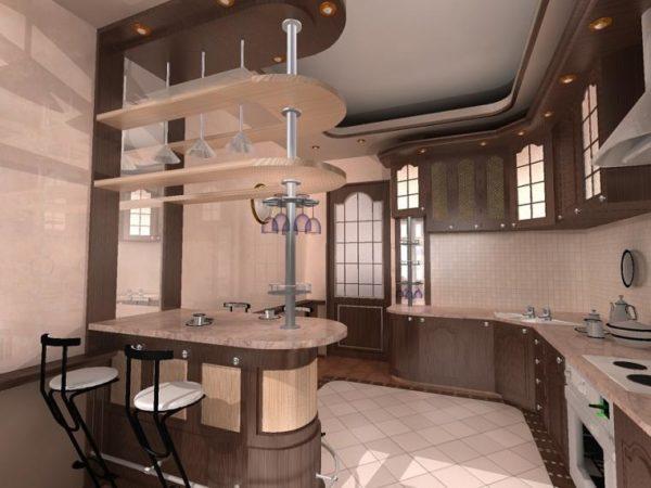 Барная стойка считается удобным и оригинальным дополнением к интерьеру современной кухни.