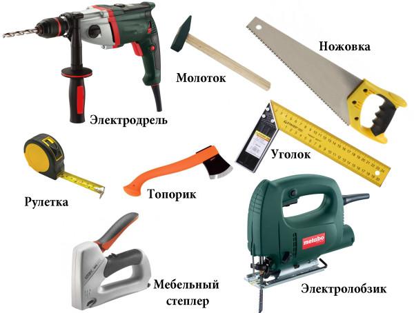 Базовый набор инструментов для обшивки балкона доской или панелями