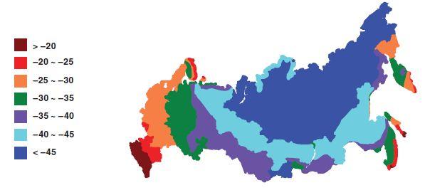 Чтобы узнать температуру самой холодной пятидневки в своем регионе, найдите его на карте.