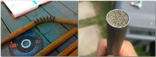 Деформация трубы без станка — слева труба, согнутая по надрезам, а справа — для сгибания заполнена песком