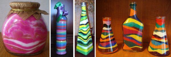 Декорирование бутылок своими руками можно выполнять не только снаружи, но и изнутри