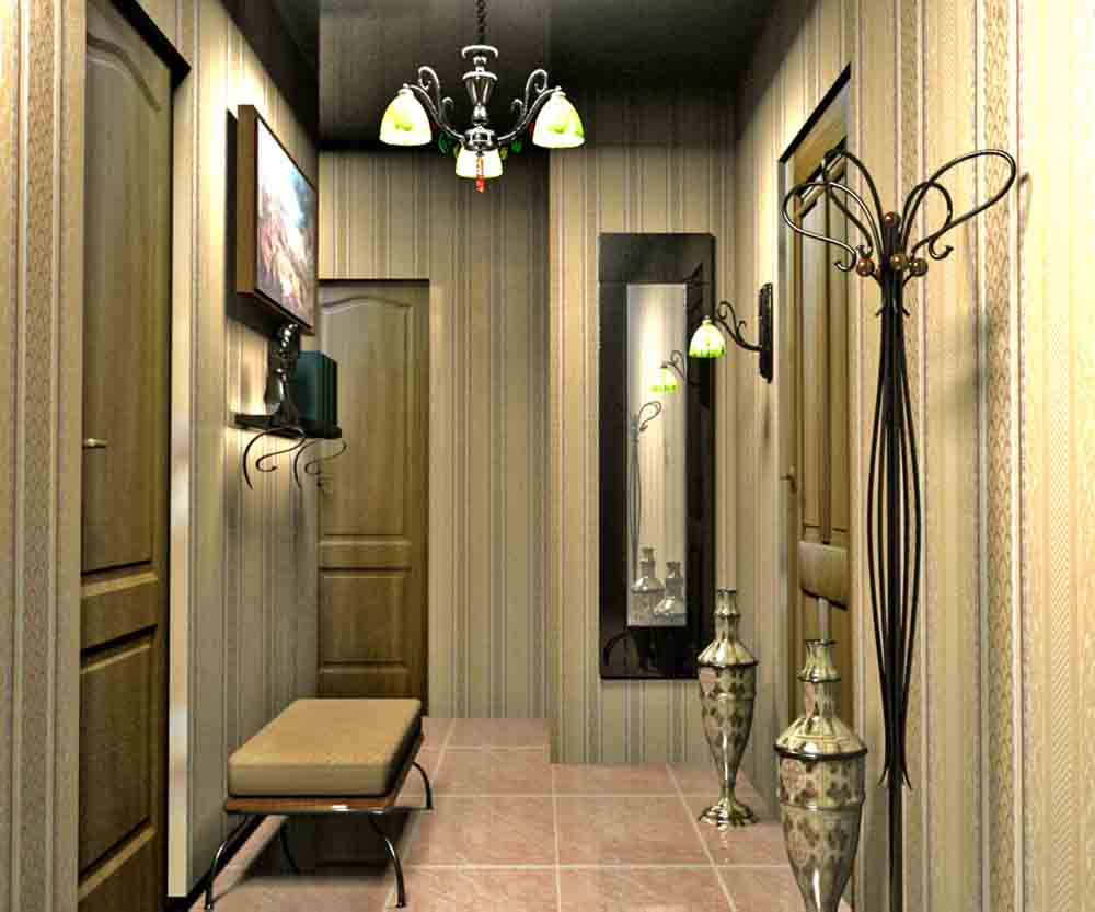 дизайн длинного коридора в квартире