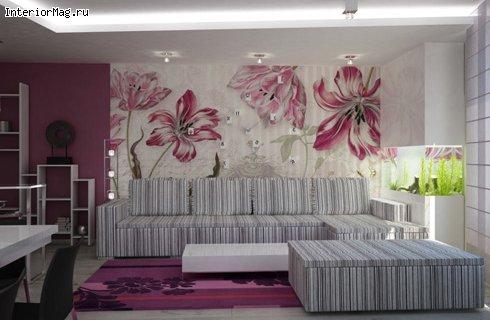 Дизайн гостиной совмещенной с балконом