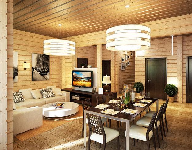 дизайн кухни в деревянном доме интерьер деревенских и дачных