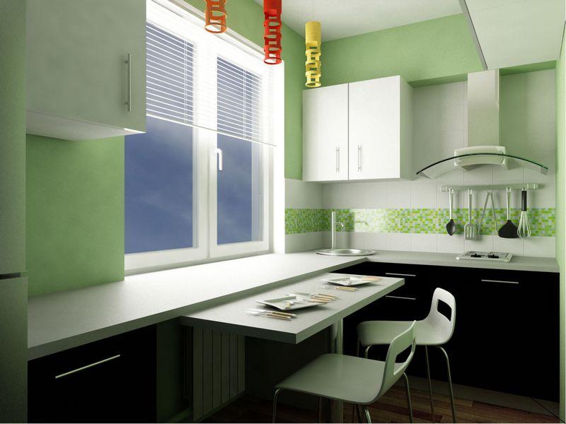 Дизайн кухни при планировке по второму варианту