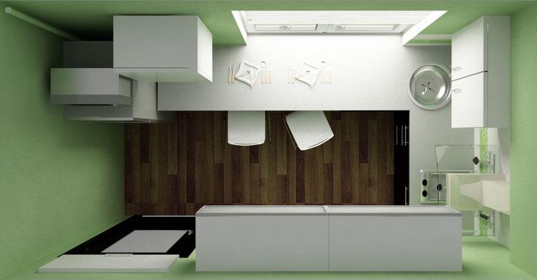 Дизайн кухни (вид сверху)по второму варианту планировки