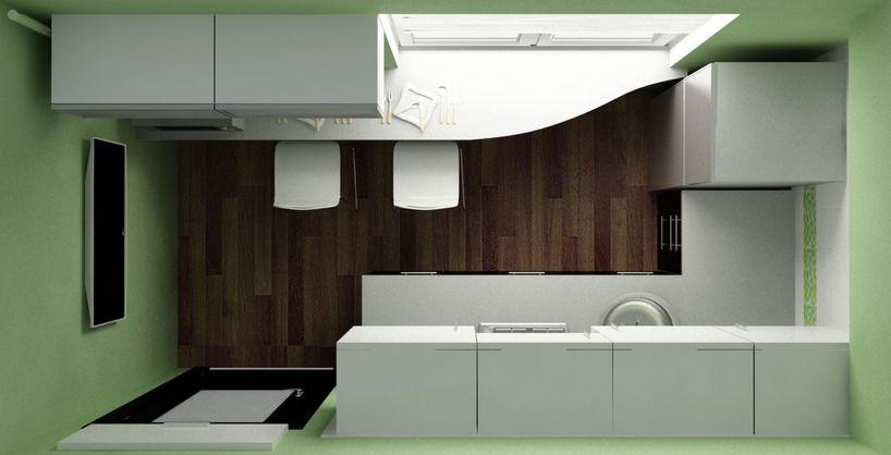 Дизайн кухни(вид сверху)по первому варианту планировки