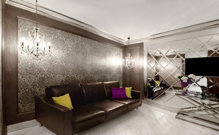 Обои в интерьере гостиной: дизайн прямоугольной комнаты в английском стиле