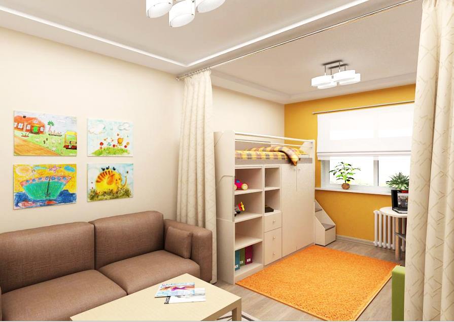Однокомнатная квартира для семьи с ребенком: дизайн. - Houzz 93