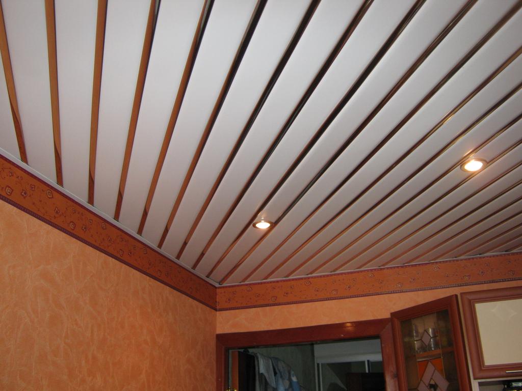 дизайн пластикового потолка на кухне
