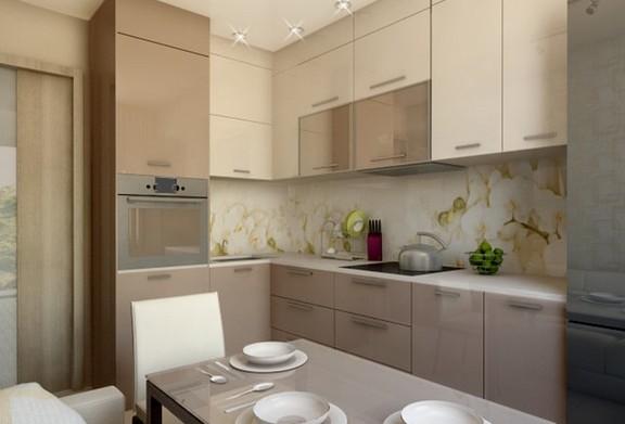 Дизайн кухни 10 м2 выполненный в бежевых тонах