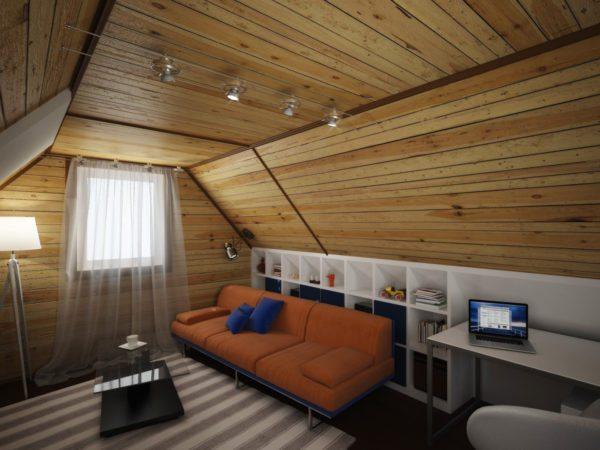 Дизайн мансарды на даче: для отделки стен и потока использована сосновая вагонка.
