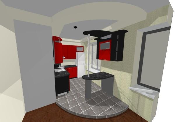 Дизайн проект малогабаритной кухни, совмещенной с примыкающим помещением