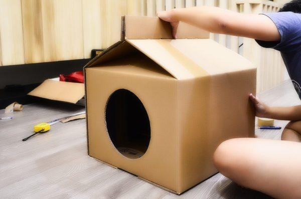 Домики для кошек своими руками можно делать из подручных материалов
