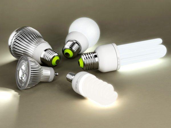 Две разновидности экономичных лампочек — светодиодные и компактные люминесцентные.