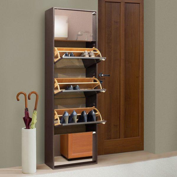 Дверка совмещена с ящиком и откидывается сверху вниз, что позволяет значительно сэкономить полезное пространство прихожей