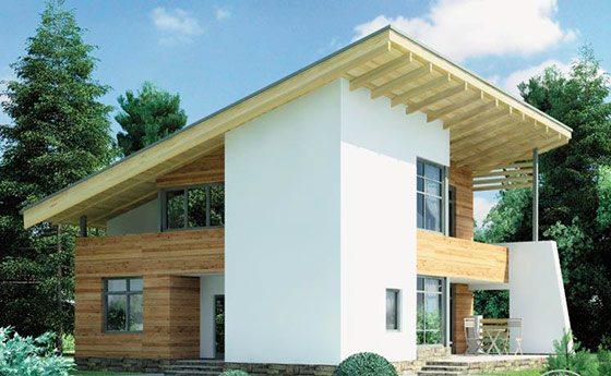Двух-трехэтажный дом можно украсить односкатной кровлей