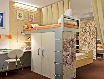 Двухъярусное дизайнерское решение – наиболее оптимально для спального места подростка