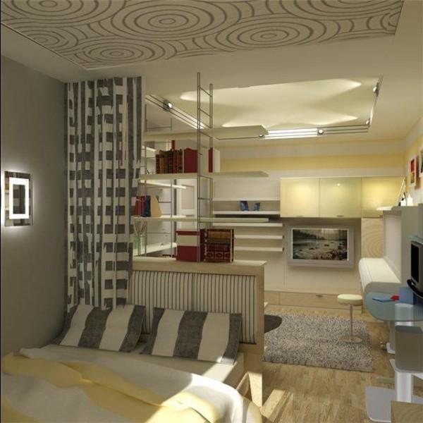 Единое стилистическое направление для всей гостиной-спальни