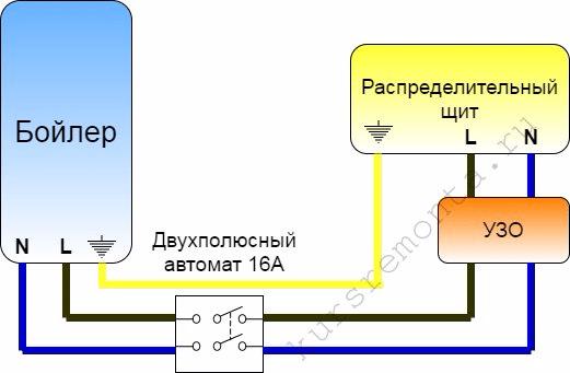 Электрическая схема подключения бойлера.