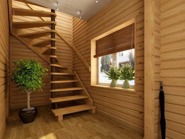 Еще один вариант компактной винтовой лестницы: она сочетает высокую функциональность с малой занимаемой площадью