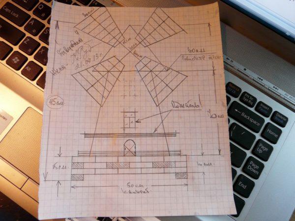 Эскиз декоративной мельницы можно сделать даже от руки