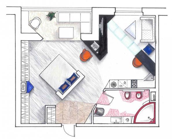 Эскиз квартиры студии.