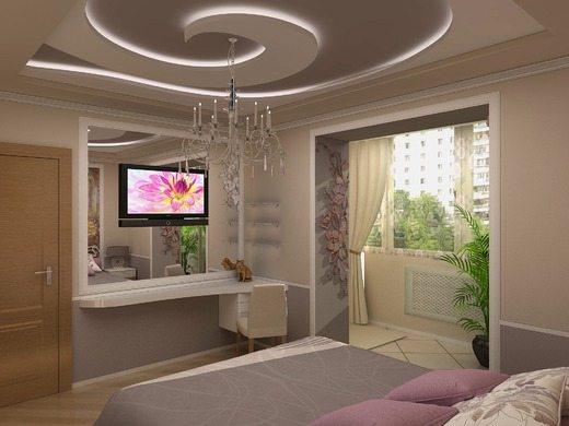 Фигурный двухуровневый потолок с оригинальной подсветкой.