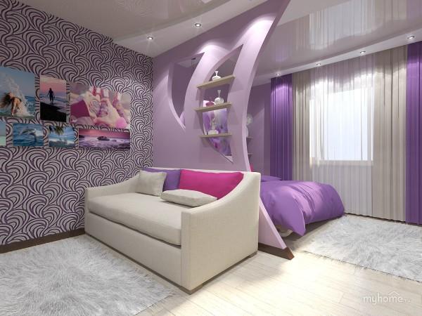 Фиолетовый цвет в спальне более насыщен, чем в остальной части комнаты