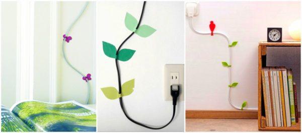 Декорирование кабеля на стене