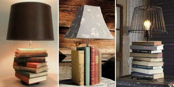 Примеры подставок для светильников из книг