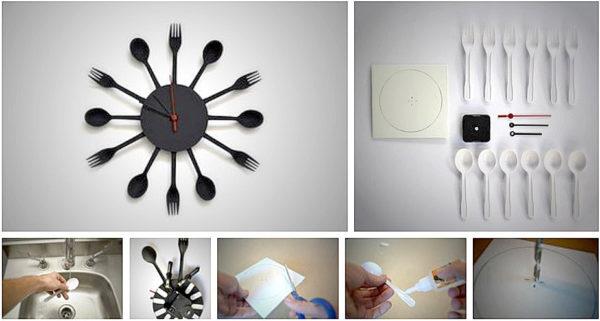 Часы из одноразовых столовых приборов своими руками