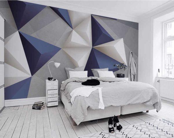 Крупный геометрический принт на одной большой стене
