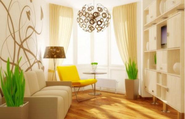 Весь интерьер гостиной в единой цветовой гамме