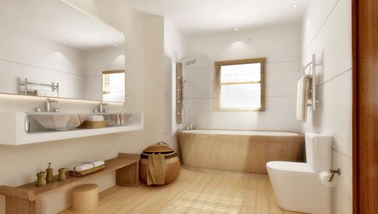 Прекрасный дизайн светлой ванны
