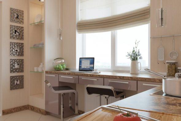Подоконник одновременно можно использовать как рабочее место, так и для приема пищи