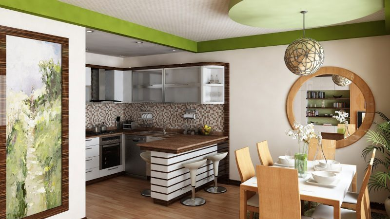 Зонирование угловой кухни и гостиной комнаты