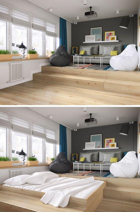 Выдвижная кровать в квартире-студии