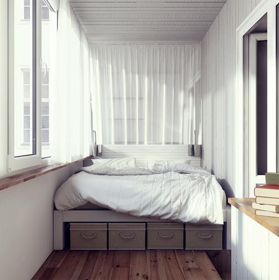 Спальня на лоджии в стиле минимализма