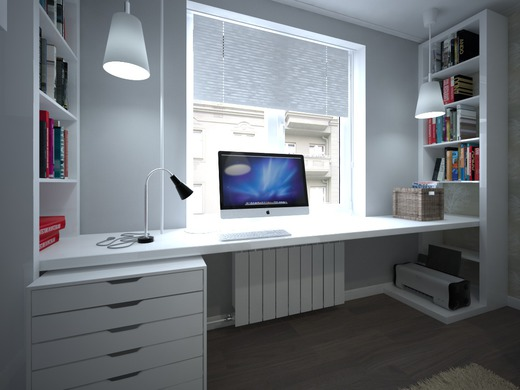 Рабочее место можно сделать из простого подоконника