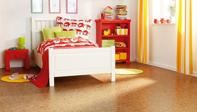 Пробковый пол в интерьере детской комнаты