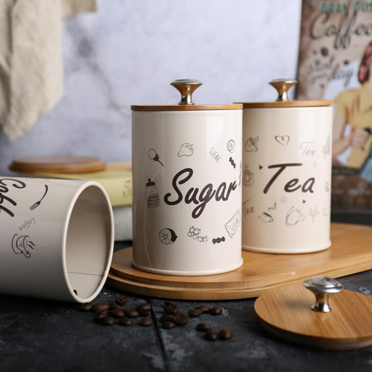 Красивые баночки для хранения кофе, чая и сахара
