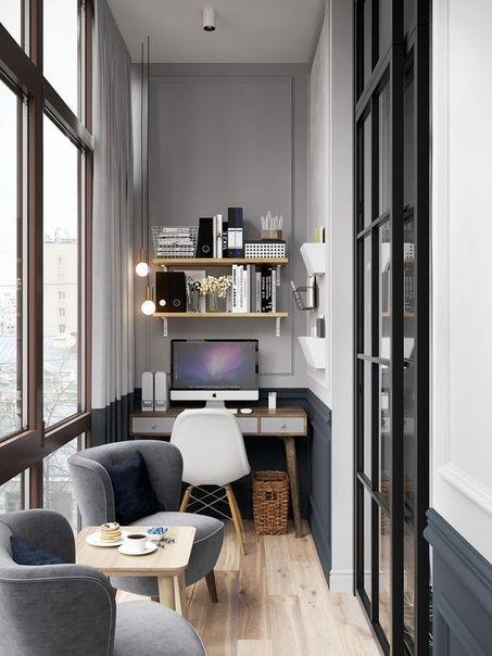 Открытые полки - отличная идея для декора домашнего кабинета