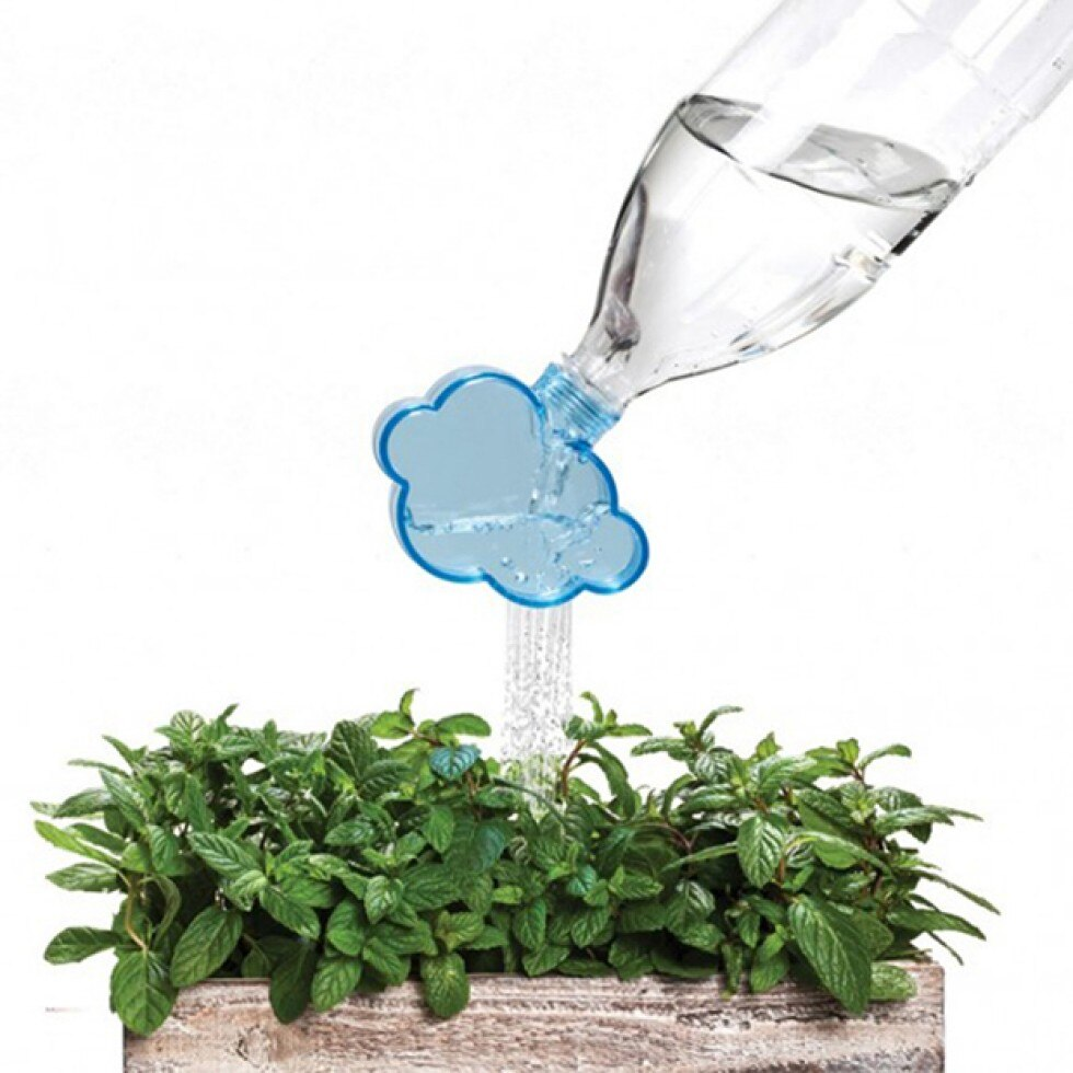 Полив растений из распылителя в виде облака