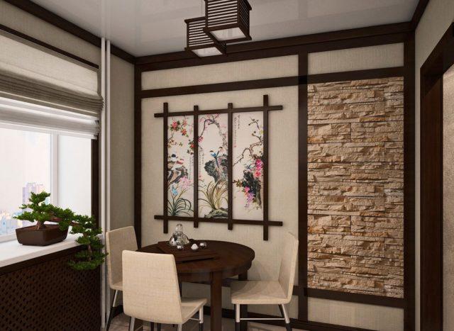Оформление стен на кухне в китайском духе