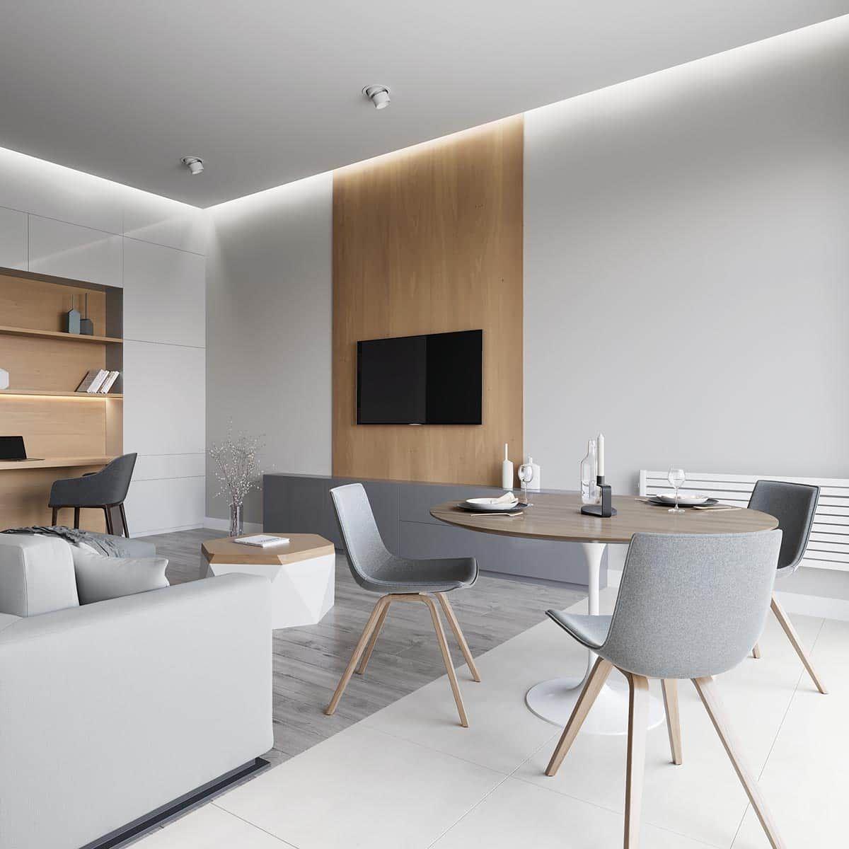 Лаконичный и простой интерьер гостиной