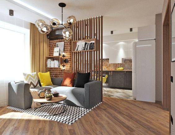 Зонирование комнаты при помощи деревянной перегородки