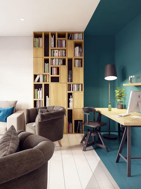 Зонирование комнаты при помощи цветовой палитре