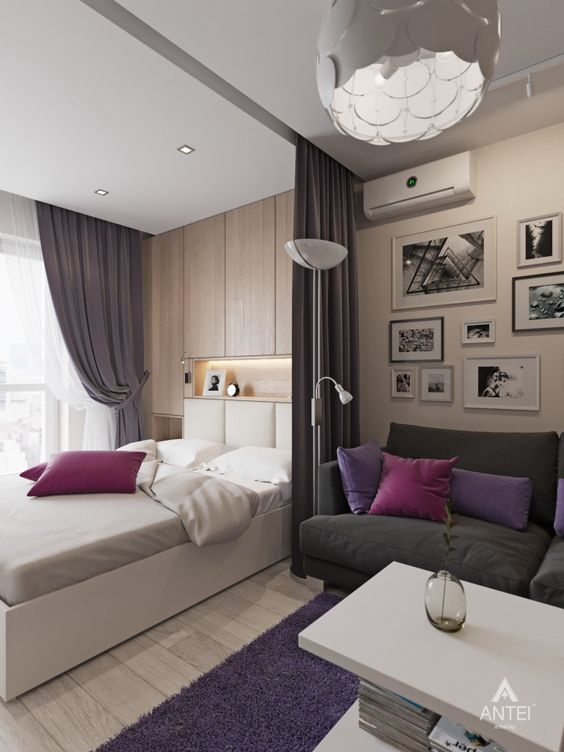 Зонирование спальни и гостиной при помощи штор